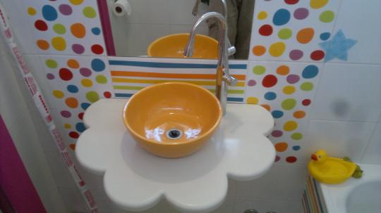 Baño de las nenas terminado. Tierno!